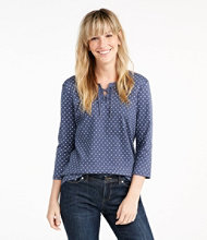 L.L.Bean Tee, Three-Quarter-Sleeve Lace-Up Print