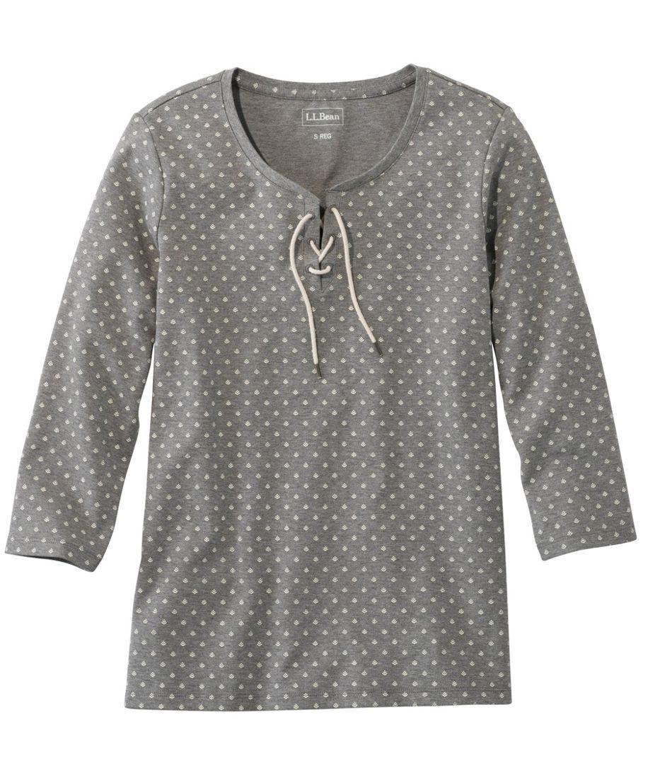 L.L.Bean Tee, Three-Quarter-Sleeve Lace-Up Print