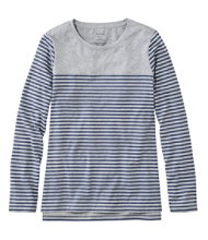 Super-Soft Shrink-Free Tee, Long-Sleeve Crewneck Print