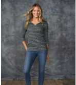 Women's Pima Cotton Tunic, Three-Quarter-Sleeve Splitneck Print