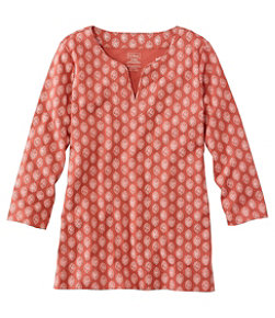 Pima Cotton Tunic, Three-Quarter-Sleeve Splitneck Print
