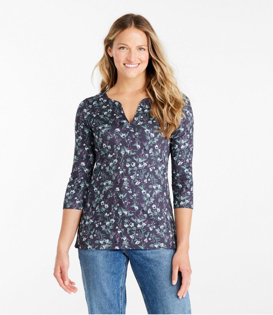 Women's Pima Cotton Tunic, Three-Quarter-Sleeve Splitneck Print