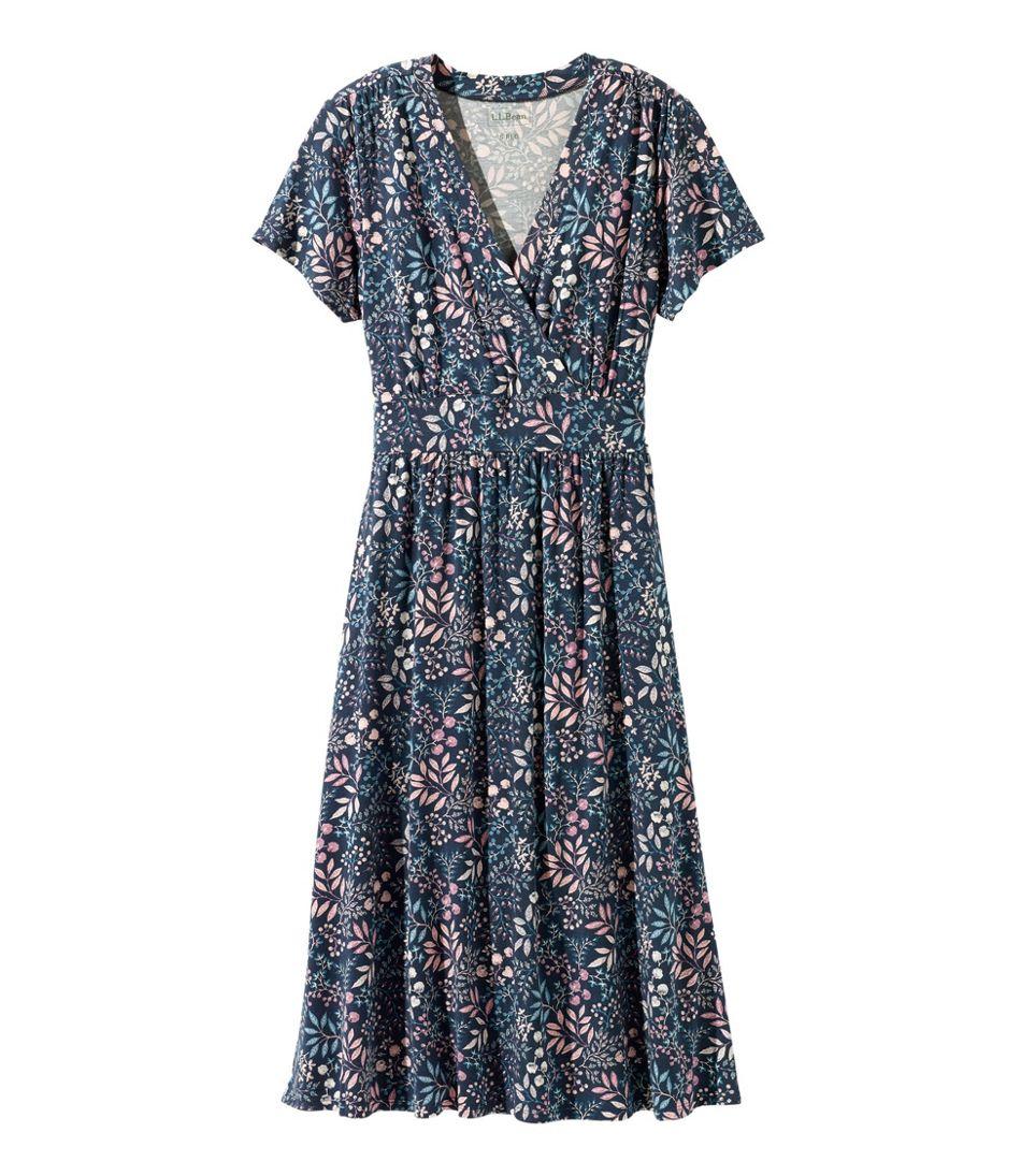 Summer Knit Dress, Short-Sleeve Floral