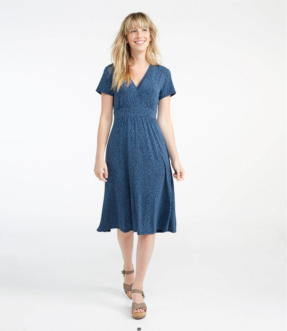 Summer Knit Dress, Short-Sleeve Dot Floral