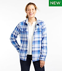 Fleece-Lined Flannel Shirt, Snap-Front Plaid