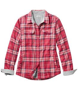 Women's Fleece-Lined Flannel Shirt, Snap-Front Plaid