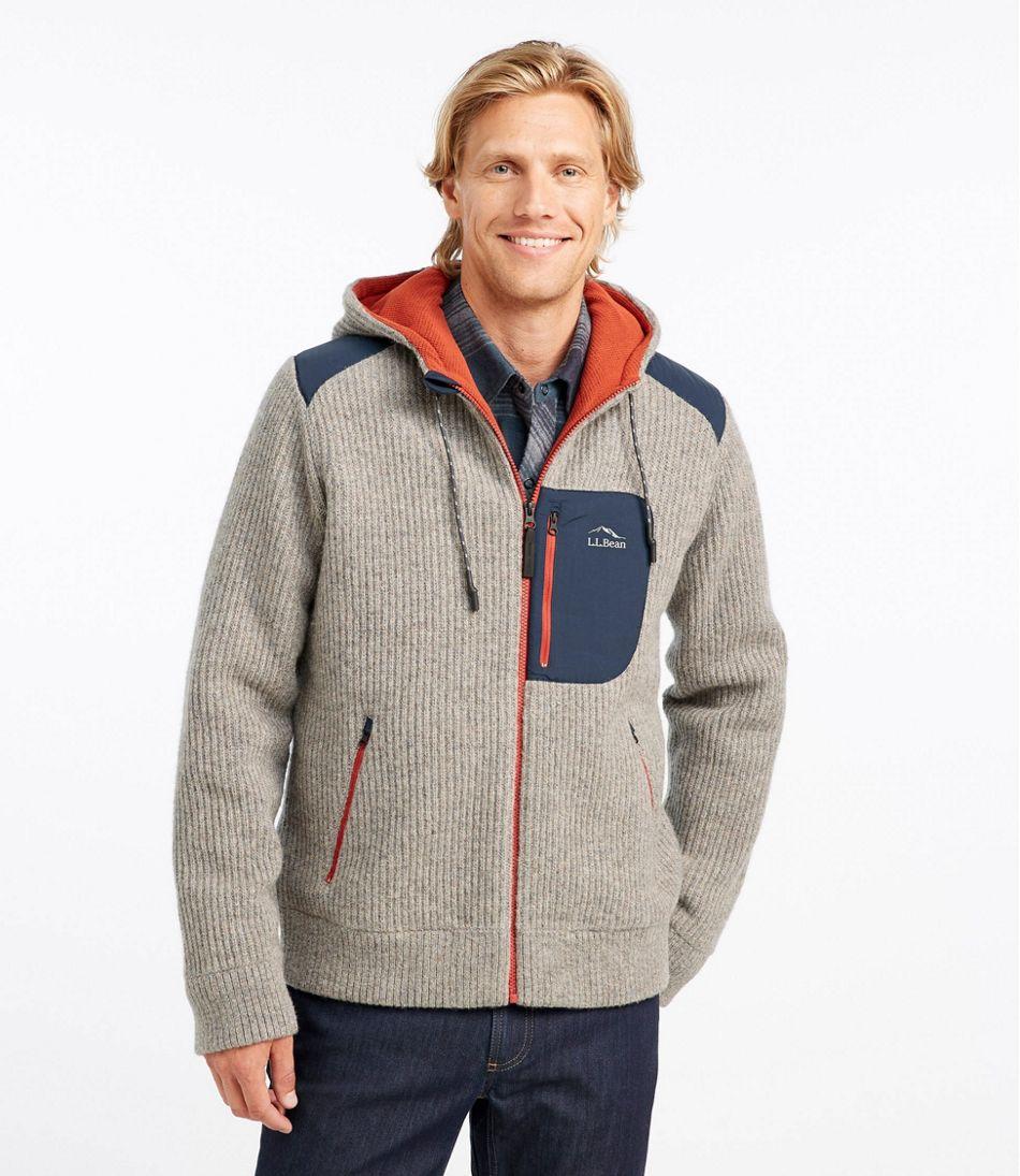Men's Fleece-Lined Hooded Wool Sweater