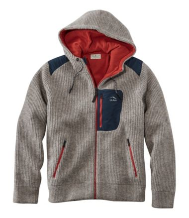 Men's Fleece-Lined Hooded Wool Sweater