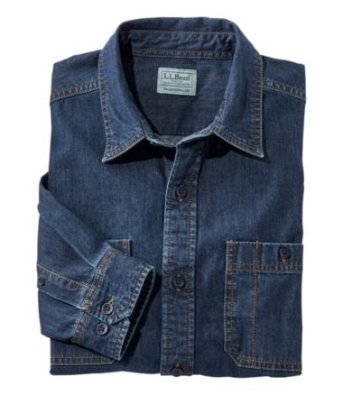 Lakewashed Denim Shirt, Traditional Fit Long-Sleeve