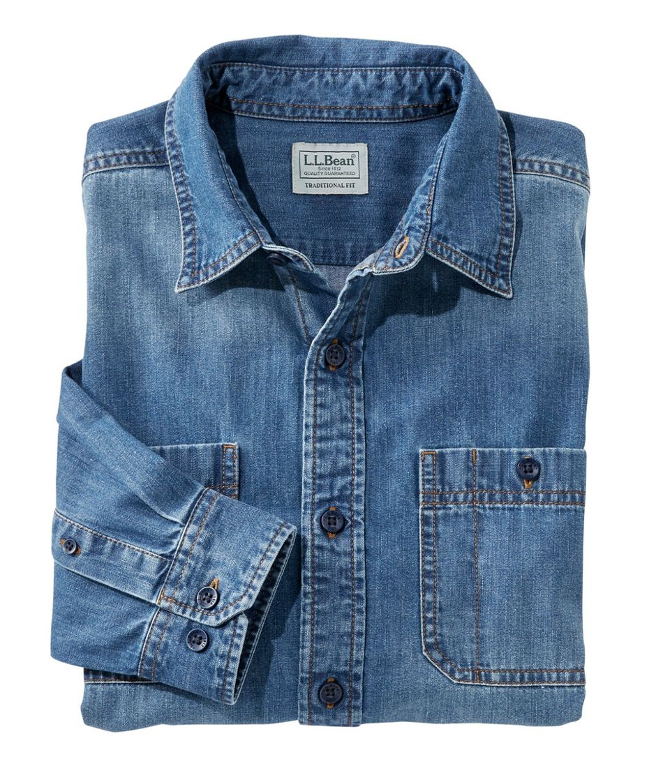 Lakewashed Denim Shirt, Traditional Fit Long-Sleeve