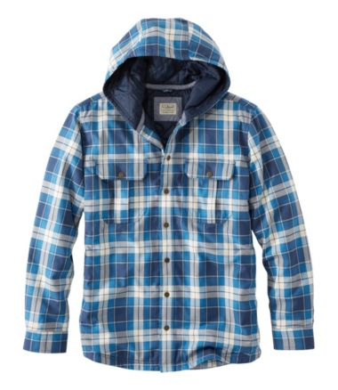 Hooded PrimaLoft-Lined Shirt-Jac, Slightly Fitted Plaid