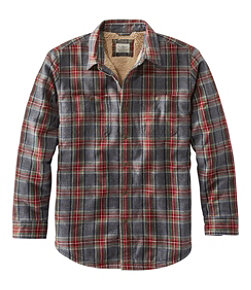 Sherpa-Lined Scotch Plaid Shirt, Slightly Fitted