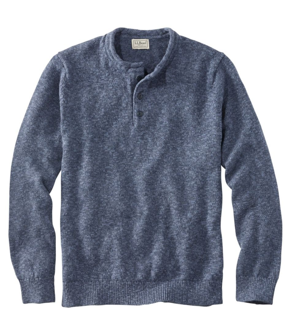 Mens Cotton Ragg Sweater Rollneck Henley Slightly Fitted