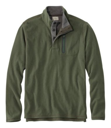 L.L.Bean Fleece Layering Button Mock Shirt, Slightly Fitted