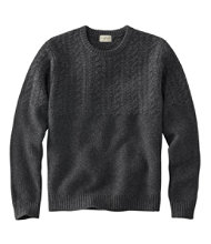 Men's Washable Lambswool Sweaters, Mixed Stitch Crewneck