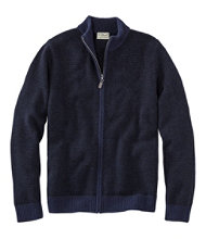 Men's Washable Merino Wool Sweater, Full Zip