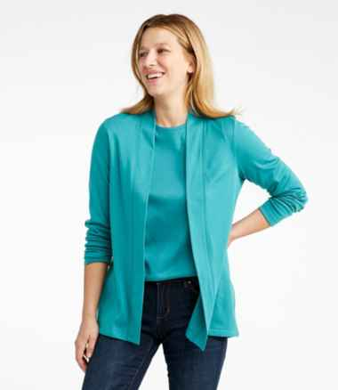 Women's Pima Cotton Open Cardigan, Split-Back