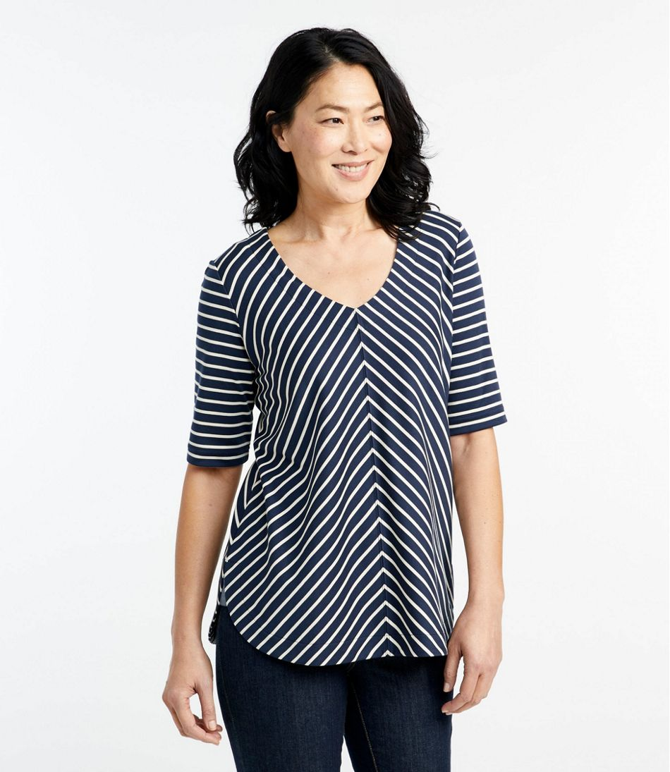 Pima Cotton Tee, V-Neck Tunic Stripe