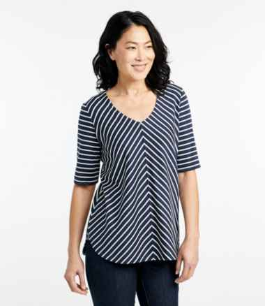 Women's Pima Cotton Tee, V-Neck Tunic Stripe