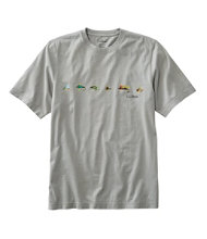 Lakewashed Garment-Dyed Cotton Crewneck Graphic Tee, Slightly Fitted Short-Sleeve Flies