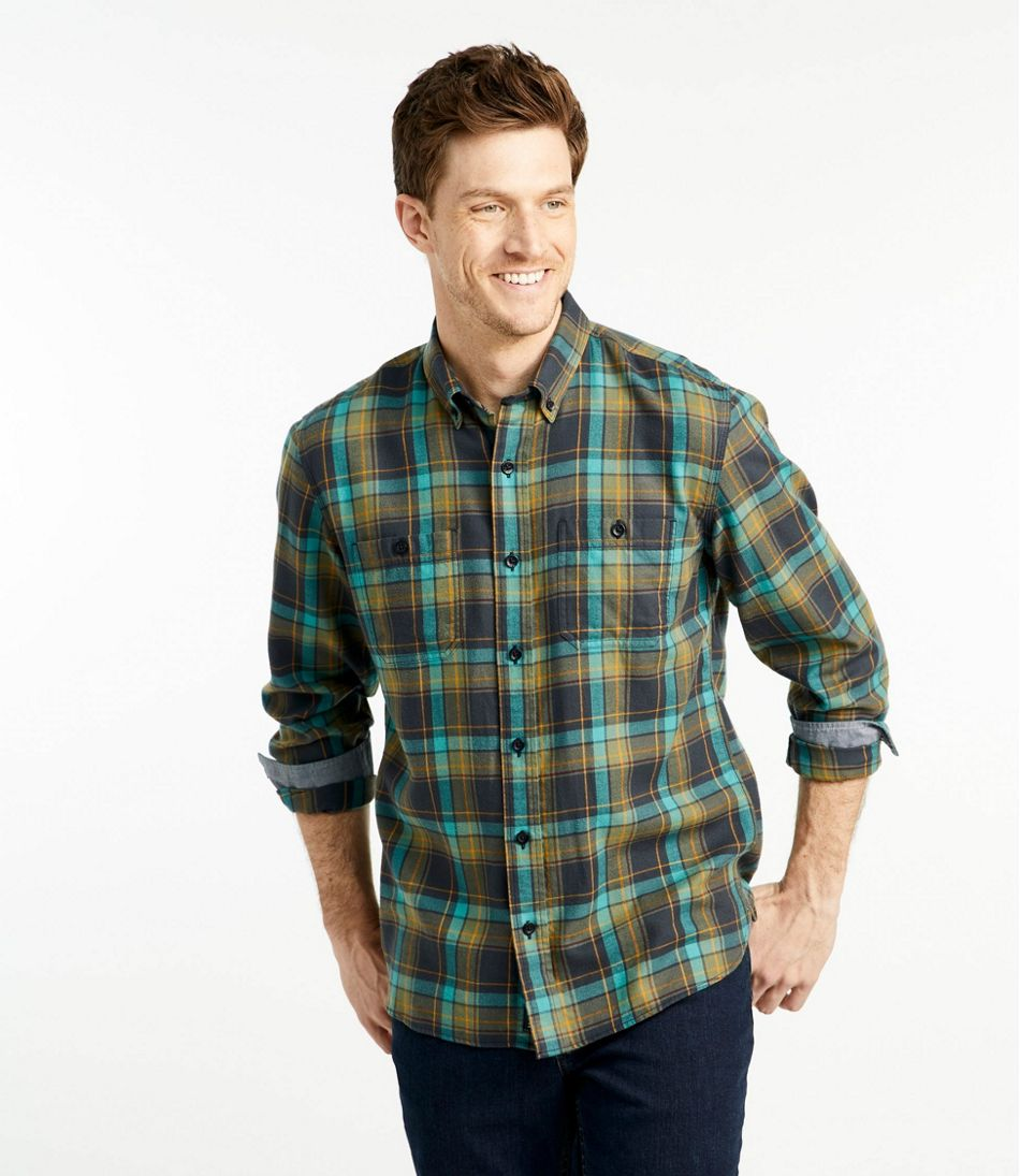 Men's Rangeley Flannel Shirt, Long-Sleeve, Slightly Fitted, Plaid