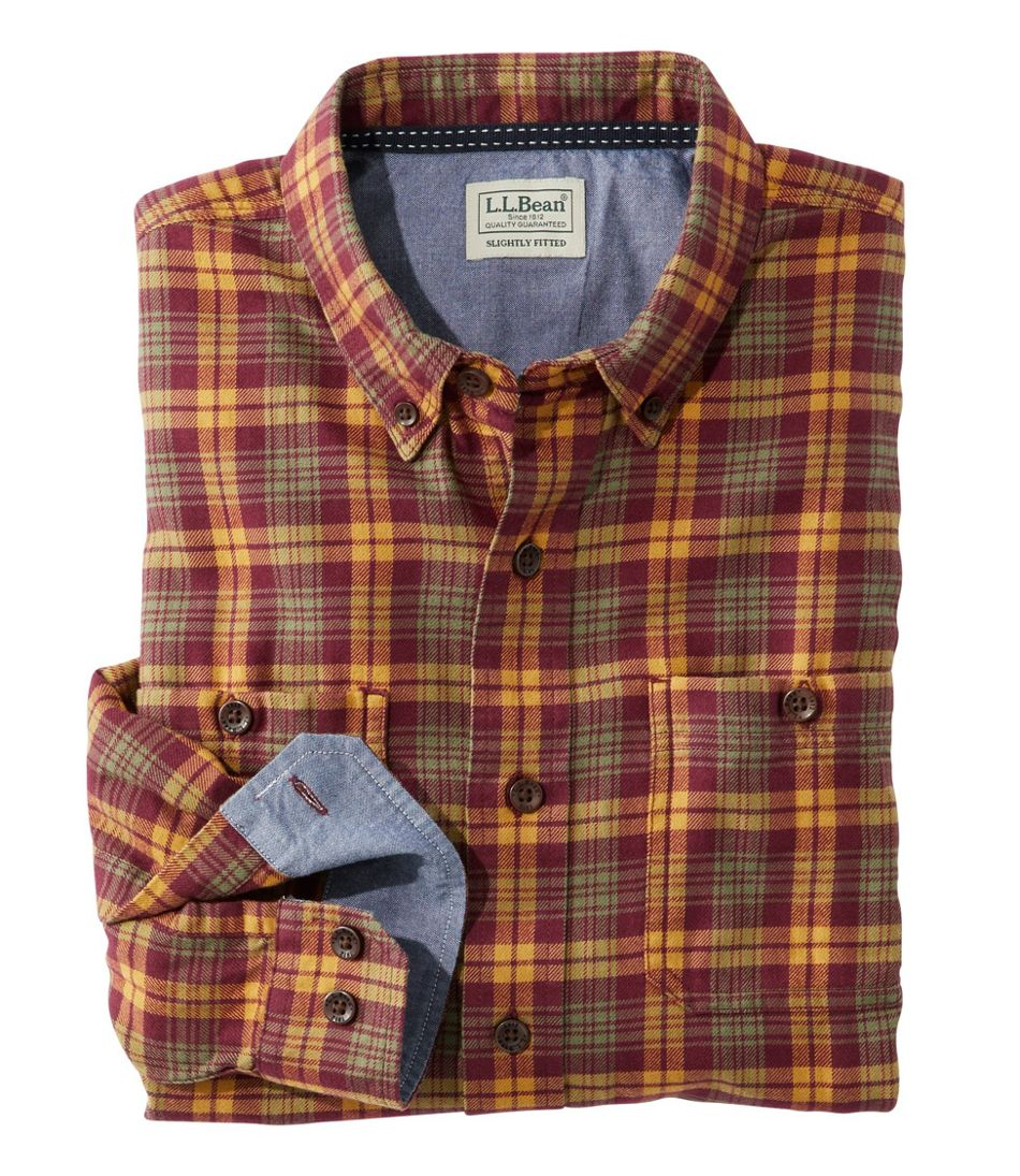 Men's Rangeley Flannel Shirt, Long-Sleeve, Slightly Fitted Plaid