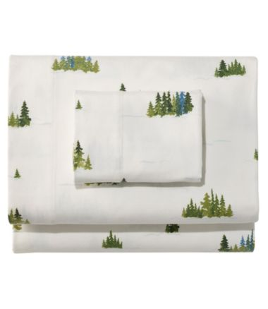 Treeline Print Flannel Sheet Collection