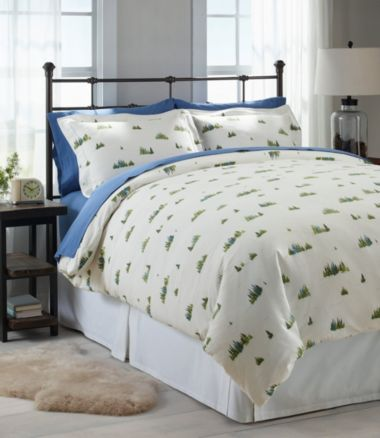 Treeline Print Flannel Comforter Cover Collection