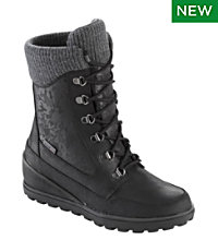 Women's Wedge Snow Boot, Leather/Mesh