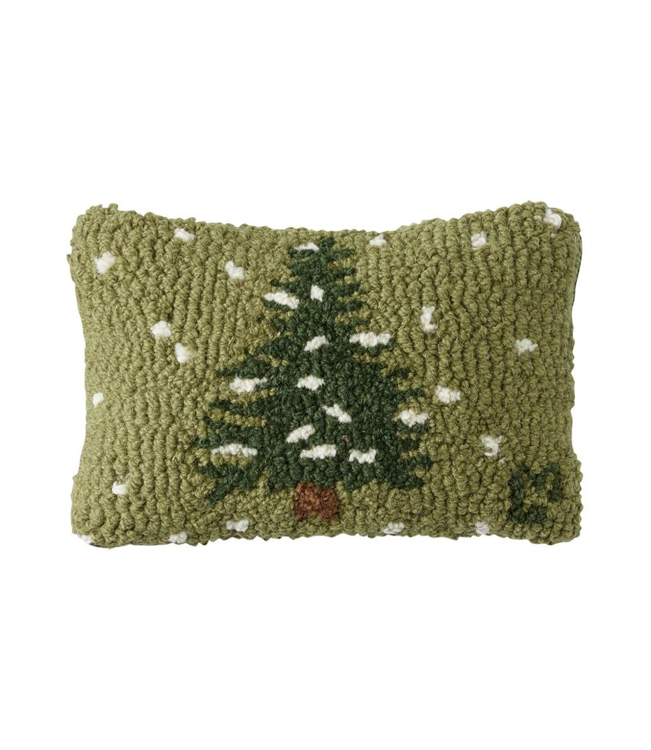 "Wool Hooked Throw Pillow, Flurries, 8"" x 12"""