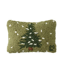 """Wool Hooked Throw Pillow, Flurries, 8"""" x 12"""""""