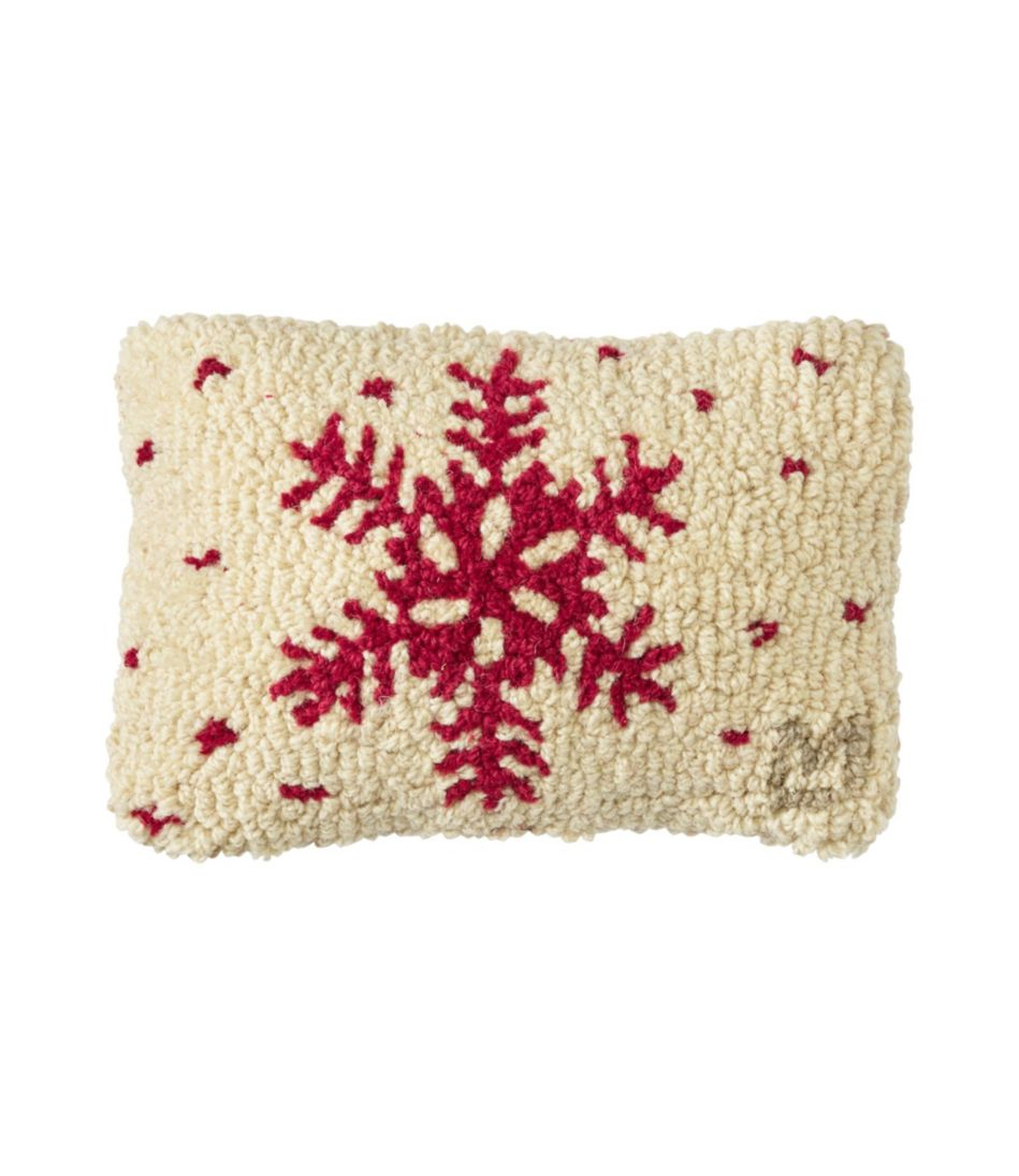 Wool Hooked Throw Pillow, Red Flake