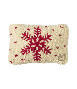 """Wool Hooked Throw Pillow, Red Flake, 8"""" x 12"""""""