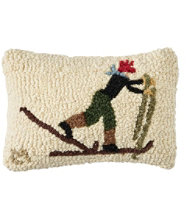 Wool Hooked Throw Pillow, Back Country Skier