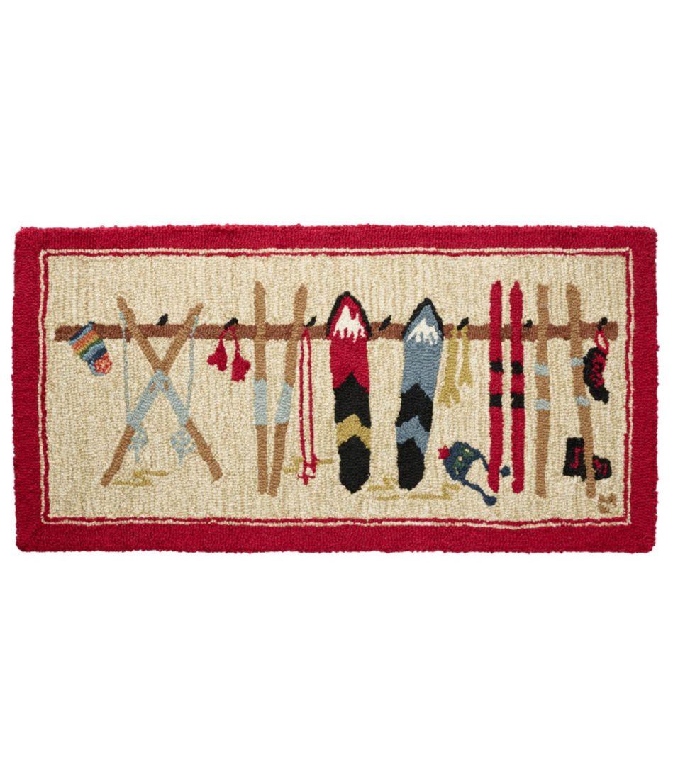 Wool Hooked Rug, Ski Rack