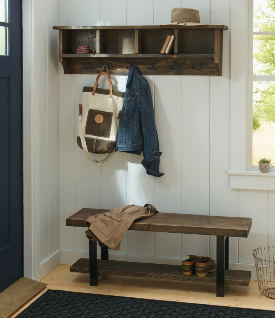 Rough Pine Wall Cubby With Hooks