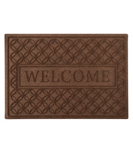 Heavyweight Recycled Waterhog Doormat, Locked Circles, Welcome