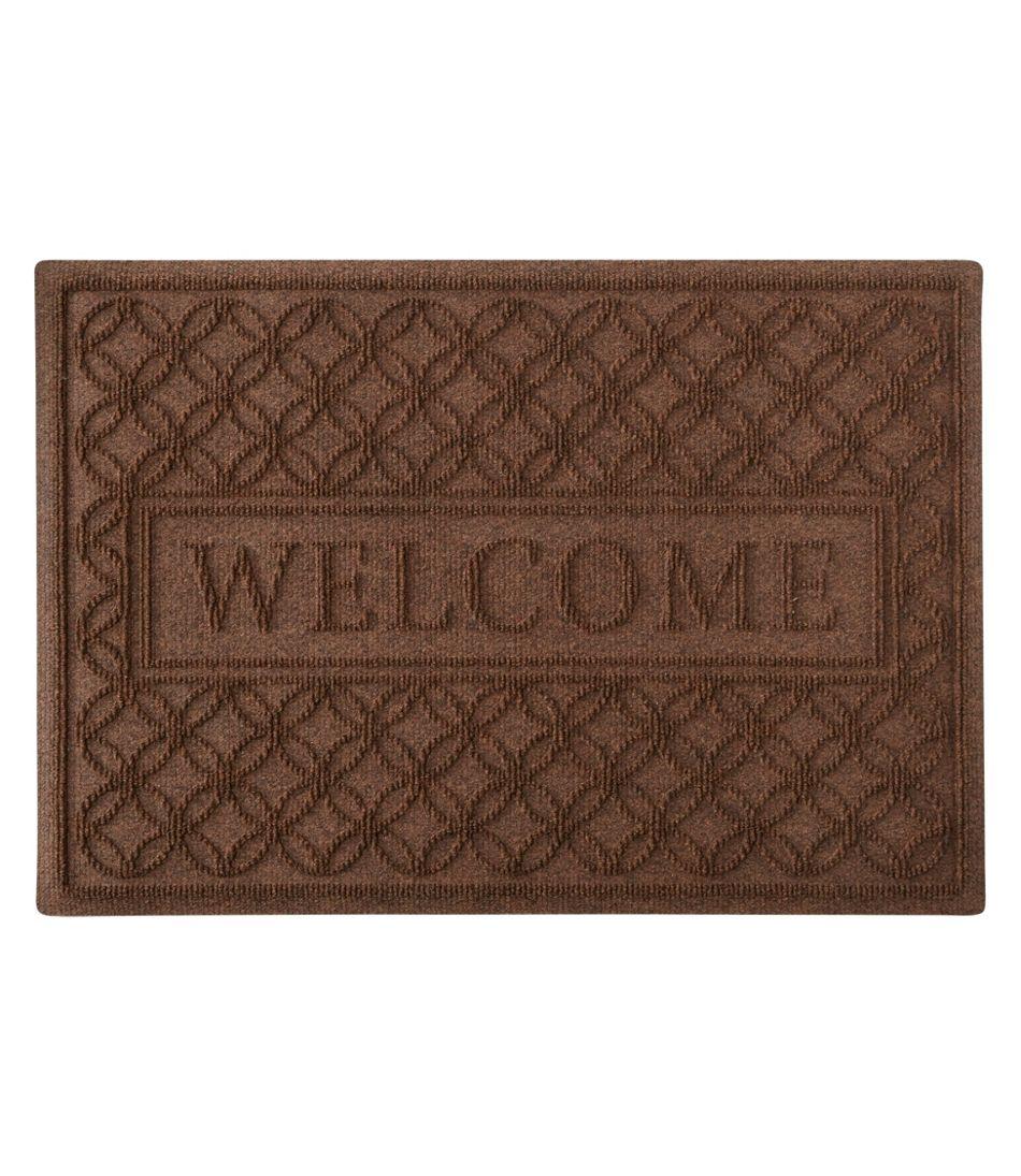 Heavyweight Recycled Waterhog Doormat, Locked Circles, Welcome
