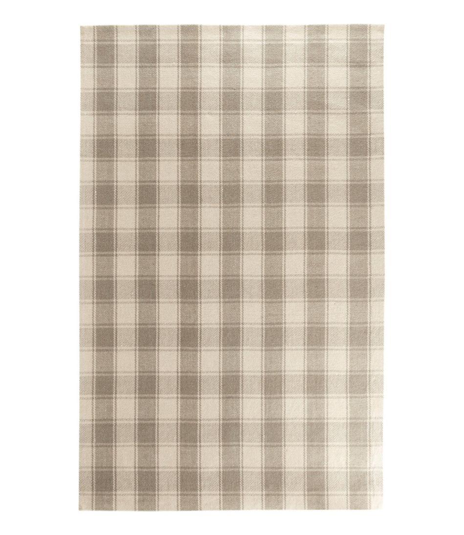 Plaid Wool Rug, Gray