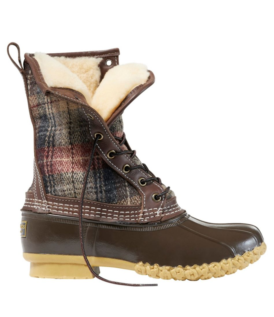 """Bean Boot, 10"""" Shearling-Lined, Wool Plaid"""