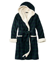 Women's Scotch Plaid Flannel Robe, Sherpa-Lined