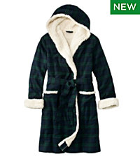 Scotch Plaid Flannel Robe, Sherpa-Lined