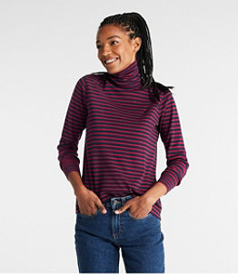 Women's L.L.Bean Interlock Turtleneck, Long-Sleeve Stripe