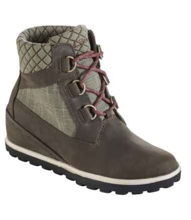 Women's Wedge Snow Boot, Leather/Mesh D Ring