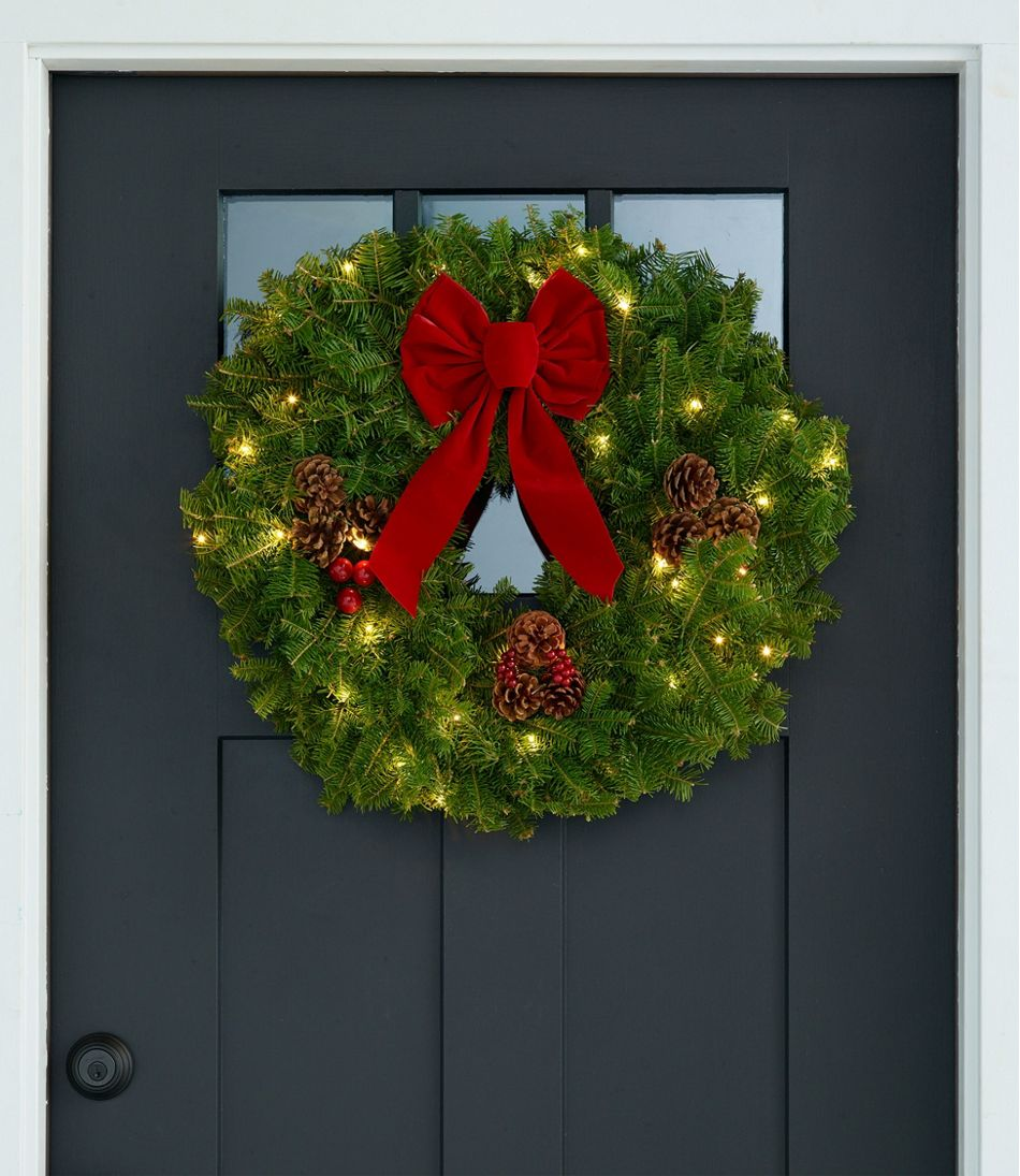 """Traditional Balsam Wreath, Lighted 24"""""""