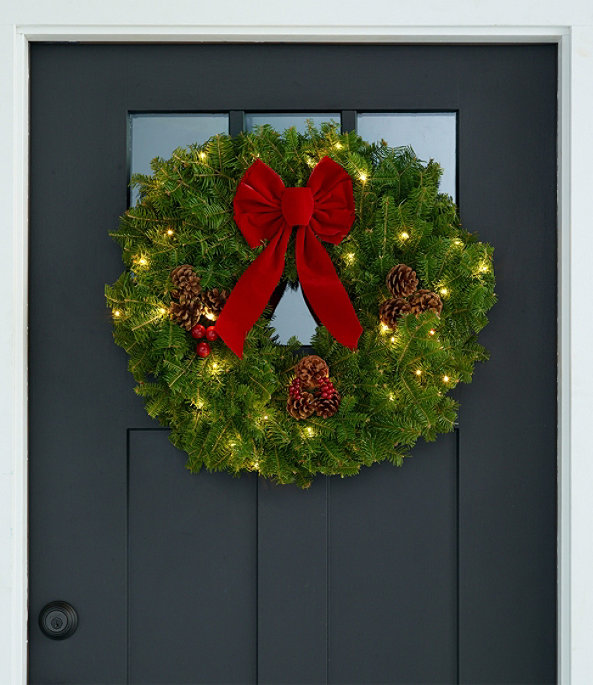"""Traditional Balsam Wreath 24"""" Lit, One Color, large image number 0"""