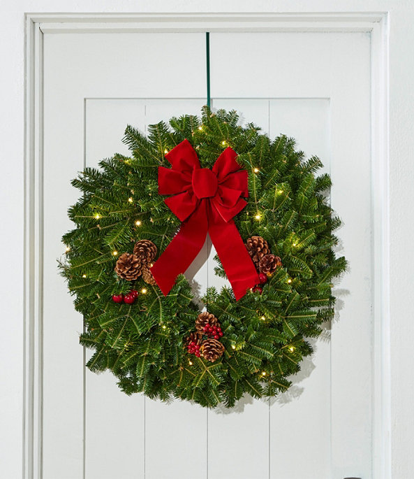 """Traditional Balsam Wreath 24"""" Lit, One Color, large image number 1"""