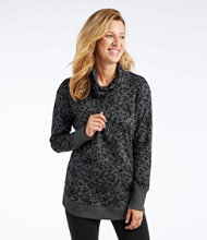 Pima Drawstring Cowlneck Tunic Long Sleeve Print Misses Regular