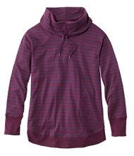 Pima Drawstring Cowlneck Tunic Long Sleeve Print Misses Regular