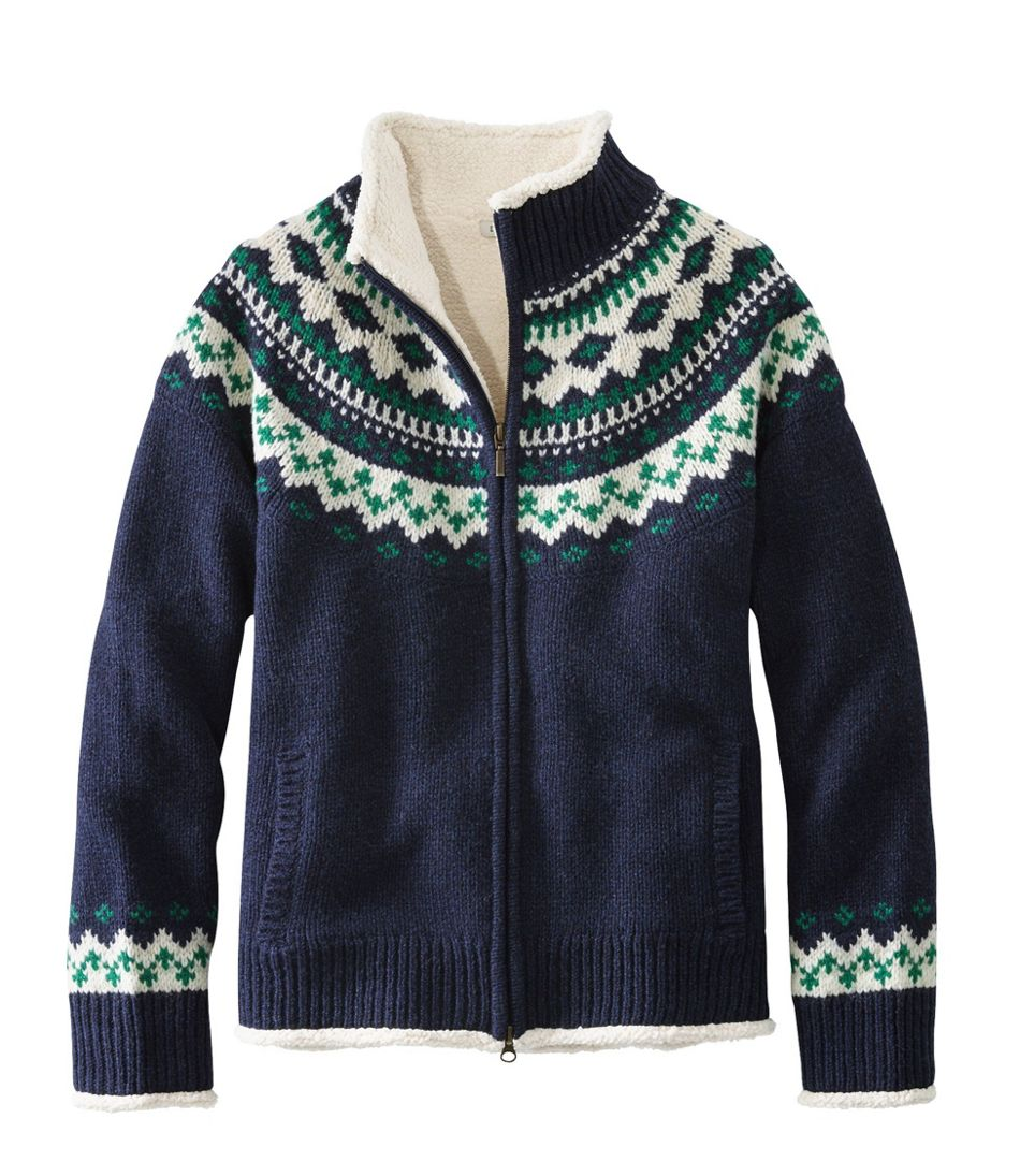 L.L.Bean Classic Ragg Wool Sweater, Sherpa-Lined Zip Cardigan Fair Isle